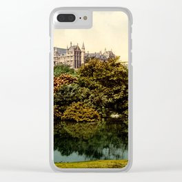 Vintage Pond Landscape Clear iPhone Case
