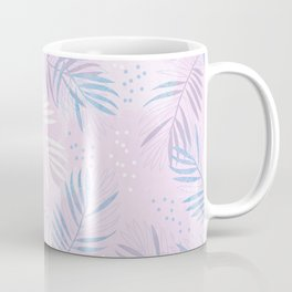Elegant hand drawn tropical leaf pattern - pink and blue #tropicalart Coffee Mug