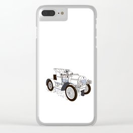retro car painted in black and white color Clear iPhone Case