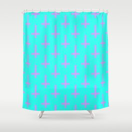 Purple and Blue Inverted Cross Pattern Shower Curtain