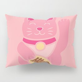 Lucky Cat in Pastel Pink Pillow Sham