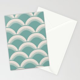 Japanese Fan Pattern Foam Green and Beige Stationery Cards
