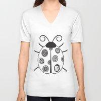 ladybug V-neck T-shirts featuring Ladybug by Amy Caldwell