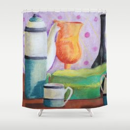 Bottlescape II, Abstract Alice in Wonderland Party Shower Curtain
