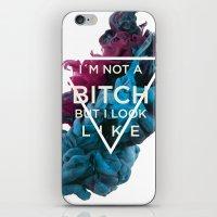 bitch iPhone & iPod Skins featuring Bitch by daniel berea