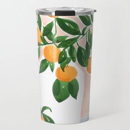 Orange Tree Branch in a Vase Travel Mug
