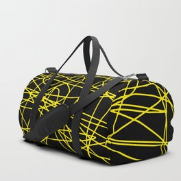 Black with yellow scribbling lines, happy yellow art, less is more Duffle Bag