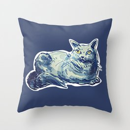 sweet cat lady british shorthair cartoon style illustration Throw Pillow