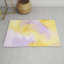 Lilac lavender sunflower yellow abstract watercolor Rug