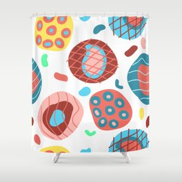 Colorful Irregular Shapes Circles Lines and Dots Shower Curtain