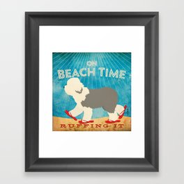 Beach Time Sheepdog by Stephen Fowler Framed Art Print