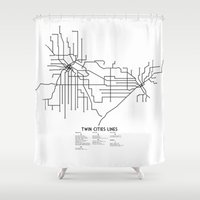 cities Shower Curtains featuring Twin Cities Lines Map by Carticulate Maps