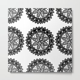 Black and White Sunflower inspired Mandala Textile Metal Print