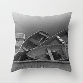 Four Skiffs Black and White Throw Pillow