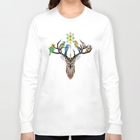 yetiland Long Sleeve T-shirts featuring deer birds by Manoou