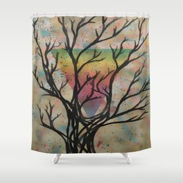 Colors through the trees Shower Curtain