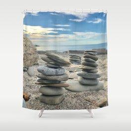 """Beach Rocks"" photography by Willowcatdesigns Shower Curtain"