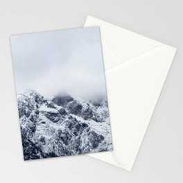 Majestic mountains below clouds Stationery Cards