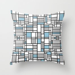 Map Lines Sky Blue Throw Pillow