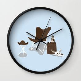 Leather Butterfly Chair and Tequila - Blue Wall Clock