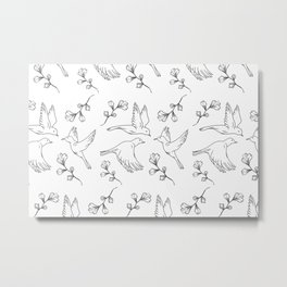 Little Birds With Leaves Pattern  Metal Print