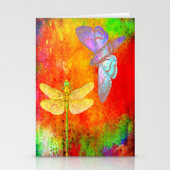 The Dragonfly and the Butterfly Stationery Cards