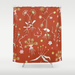 Red Flora of Planet Hinterland Shower Curtain