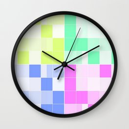 funky colorful squares Wall Clock