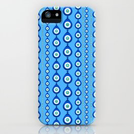 Evil Eye pattern - sky blue with golden accents iPhone Case