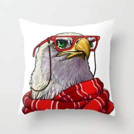 Clever eagle Throw Pillow