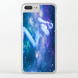 Blue Galaxy Woman : Nude Art Clear iPhone Case