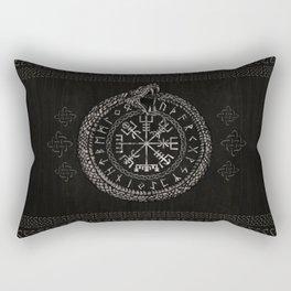 Vegvisir with Ouroboros and runes Rectangular Pillow