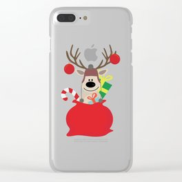 Santa Claus sends you Surprise gift with Mr Reindeer Clear iPhone Case