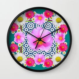Teal Color Art Fuchsia Gerbera Daisy Flowers Pink Roses Patterns Wall Clock