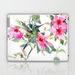 Hibiscus and Hummingbird, Hawaiian Aloha, birds and flowers design Laptop & iPad Skin