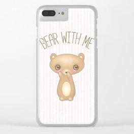 Bear With Me - Creepy Cute Teddy Clear iPhone Case