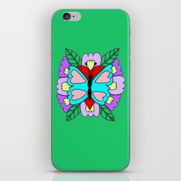 Butterfly, heart and flowers design iPhone Skin