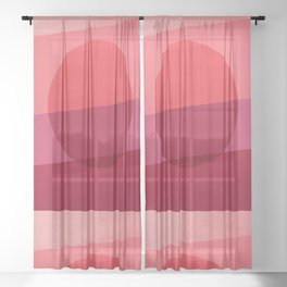 Abstraction_SUNSET_RED_Minimalism_001 Sheer Curtain