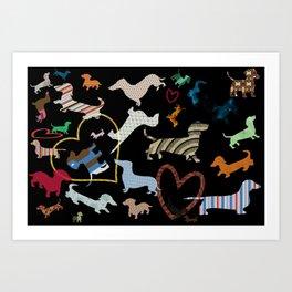 dachshund dog. love. pattern Art Print