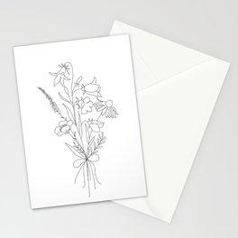 Small Wildflowers Minimalist Line Art Stationery Cards