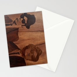 Blues brothers marquetry picture of wood Stationery Cards