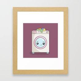 Kawaii Washing machine Framed Art Print