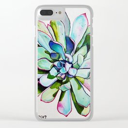 Cacti with pink tipped leaves Clear iPhone Case