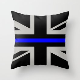 Police: British Flag & The Thin Blue Line Throw Pillow