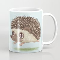 hedgehog Mugs featuring Hedgehog by Toru Sanogawa