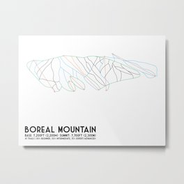 Boreal Mountain, CA - Minimalist Trail Art Metal Print
