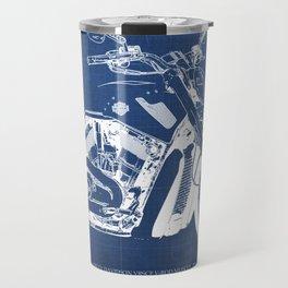 Blue motorcycle blueprint, HD VRSCF V-Rod Muscle,white line,home decor,man office, man cave decor Travel Mug