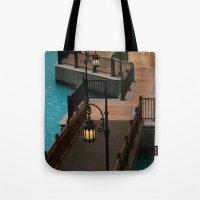 arab Tote Bags featuring Dubai Burj Al Arab Walkway by gdesai