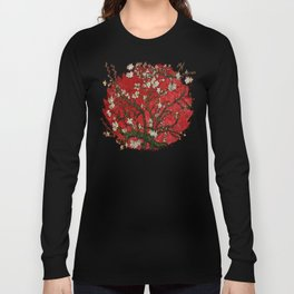 Abstract Daisy With Red Background Long Sleeve T-shirt