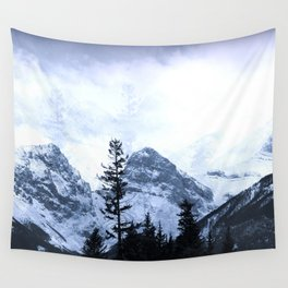 Mystic Three Sisters Mountains - Canadian Rockies Wall Tapestry